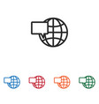 web globe and speech bubble icon vector image