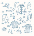 winter clothing set of collection vector image vector image