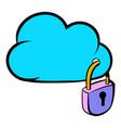 cloud security icon cartoon vector image