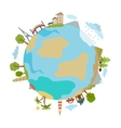 Cute of planet with houses trees buildings made in vector image
