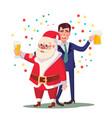 drunk man and santa claus corporate vector image