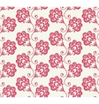Seamless pattern with red doodle flowers vector image