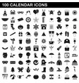 100 calendar icons set simple style vector image vector image