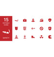 15 safety icons vector image vector image
