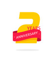 2 years anniversary logo template isolated on vector image