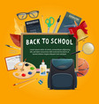 back to school poster for education themes design vector image vector image