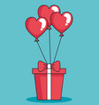 balloons helium in shape heart with gift vector image