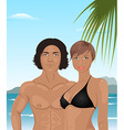 beach girl and boy background vector image