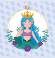 beautiful and magic mermaid cartoon vector image vector image