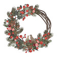 beautiful christmas decorative wreath vine and vector image vector image