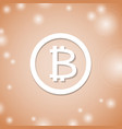 bitcoin white icon on orange background crypto vector image