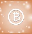 bitcoin white icon on orange background crypto vector image
