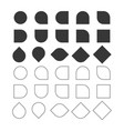 black solid and line empty circle and squares set vector image vector image