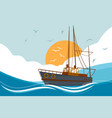 boat floating in sea vector image