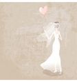 bride in wedding dress with balloon vector image vector image