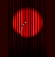 bright red curtain with microphone in round vector image