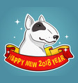 bull terrier for new year vector image vector image