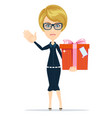 business woman holding a present vector image vector image