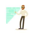 Businessman wearing vr headset working in digital
