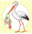 Card with stork and pacifier for girl vector image vector image