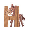 cartoon horse with letter h vector image vector image