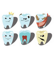 cartoon set teeth a collection patients and vector image