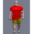 cartoon tense man bodybuilder goes vector image vector image