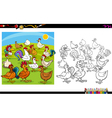 chicken characters coloring book vector image vector image