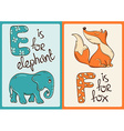 children alphabet with funny animals elephant