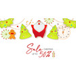 christmas sale cute design template with santa vector image