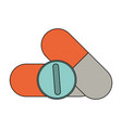 color image cartoon capsules and circular pill vector image vector image