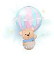 cute bear flying on air balloon adorable bear