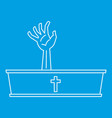 dead man hand coming out of his grave icon vector image vector image