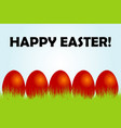 easter card with red eggs and grass vector image