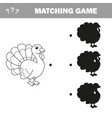 find correct shadow - turkey farm bird vector image vector image