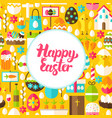 flat happy easter greeting vector image