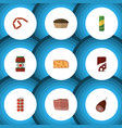 flat icon eating set of fizzy drink tart meat vector image