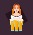 german woman with beer glasses vector image