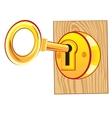 Golden key in lock vector image