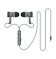 gray wired earphones accessory for music vector image vector image