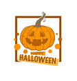 happy halloween logo label emblem with sketch vector image