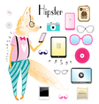 hipster fox and objects vector image vector image