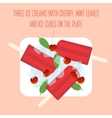 Icecreams popsicles with cherry mint and ice vector image vector image