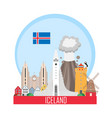 iceland national attractions background vector image vector image