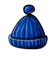Knitted blue cap isolated on white vector image