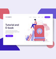 landing page template of tutorial and e-book vector image vector image