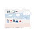 let snow flakes fall winter baby season postcard vector image vector image