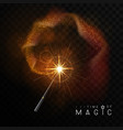 magic wand with golden glowing shiny trail vector image