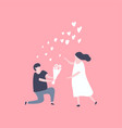 man kneeling down and give flower to pretty woman vector image vector image