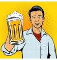 Man offers beer cup pop art style vector image vector image
